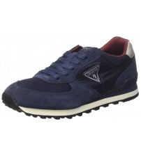 Guess Charlie Navy White Suede Mens Trainers Shoes