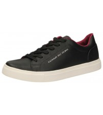Guess Luiss Black White Red Leather Mens Trainers Shoes