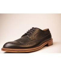 Made in England H W Trickett Windsor Black Leather Mens Brogue Shoes