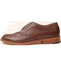 Made in England H W Trickett Windsor Brown Leather Mens Brogue Shoes