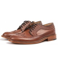 Made in England H W Trickett Windsor Tan Leather Mens Brogue Shoes