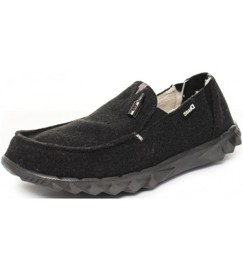 Hey Dude Farty Chalet Black Shearling Mens Slipons Shoes