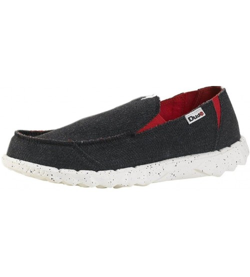Hey Dude Farty Funk Black Red Canvas Slipons Shoes