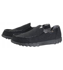 Hey Dude Farty Classic Jet Black Canvas Slipons Shoes