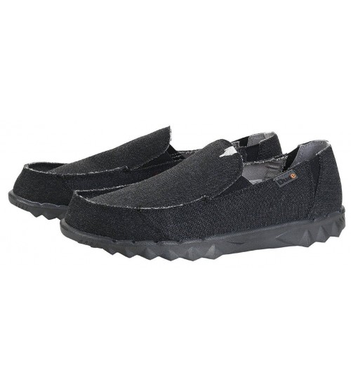 Hey Dude Farty Classic Jet Black Canvas Slipons Shoes 58c888063f1