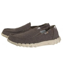 Hey Dude Farty Linen Chocolate Canvas Slipons Shoes
