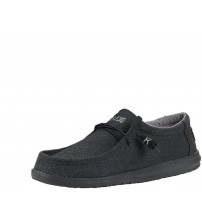 Hey Dude Wally Classic Black Mens Lace Up Shoes
