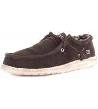Hey Dude Wally Chocolate Suede Mens Lace Up Shoes