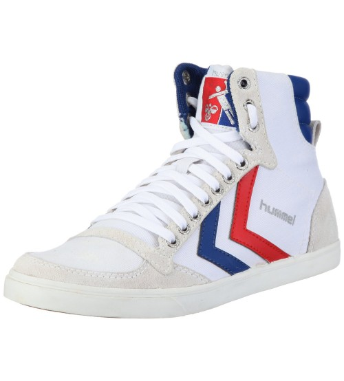 Hummel Slimmer Stadil High Canvas White Blue Red Mens Trainers