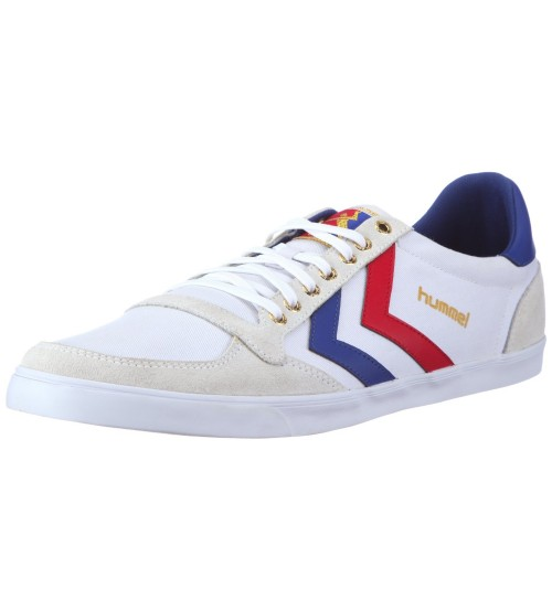 Hummel Slimmer Stadil Lo Canvas White Blue Red New Mens Trainers Boots