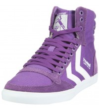 Hummel Slimmer Stadil High Canvas Purple White Womens Trainers Boots