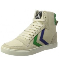 Hummel Slimmer Stadil Duo White Green Blue Mens Hi Trainers Shoes