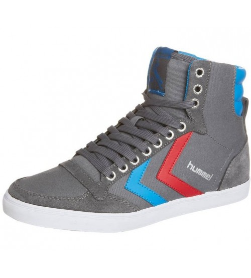Hummel Slimmer Stadil Hi Canvas Suede Grey Red Blue Mens Trainer