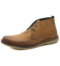 Ikon Luger Tan Mens Leather Smart Lace Up Desert Chukka Boots