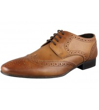 Ikon Statham Tan Leather Mens Formal Oxford Brogue Shoes