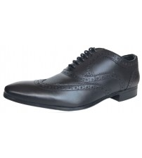 Ikon Anderson Black Leather Mens Formal Oxford Brogue Shoes