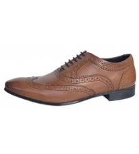 Ikon Anderson Tan Leather Mens Formal Oxford Brogue Shoes
