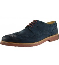 Ikon Hazel Navy Leather Mens Formal Brogue Casual Shoes