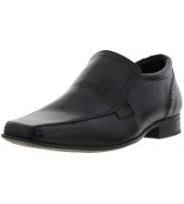 Ikon Saxon Black Leather Mens Formal Slip On Shoes