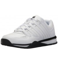 K. Swiss Baxter White Black Mens Leather Trainers Shoes
