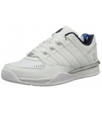 K. Swiss Baxter White Silver Navy Mens Leather Trainers