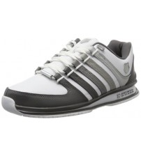 K. Swiss Rinzler White Grey Mens Leather Trainers Shoes