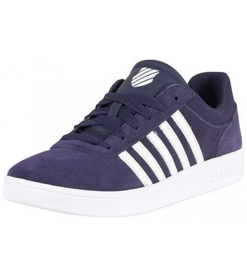 K. Swiss Court Cheswick Navy White Mens Suede Trainers