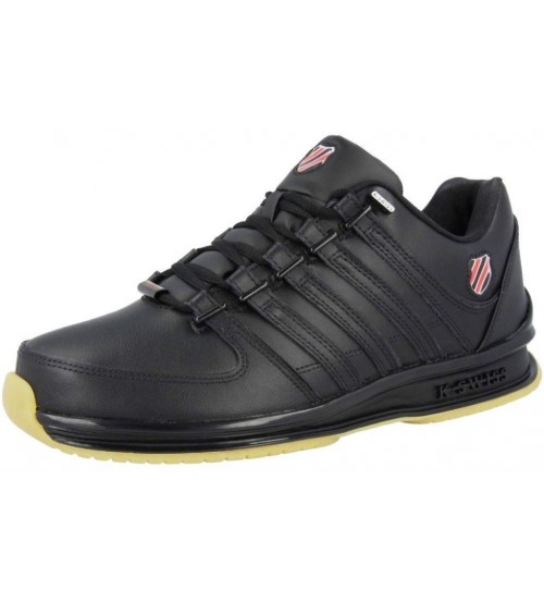 K. Swiss Rinzler SP Black Red Gum Mens Leather Trainers Shoes