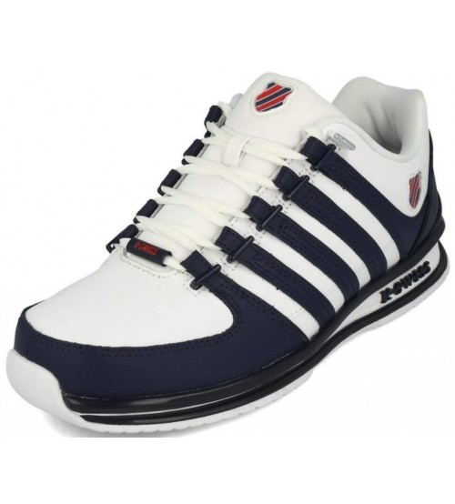 6db7288db7d5b K. Swiss Rinzler SP White Blue Red Mens Leather Trainers
