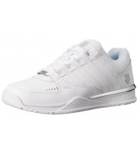K. Swiss Baxter White Silver Mens Leather Trainers Shoes