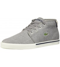 Lacoste Ampthill 218 Grey White Canvas Mens Trainers