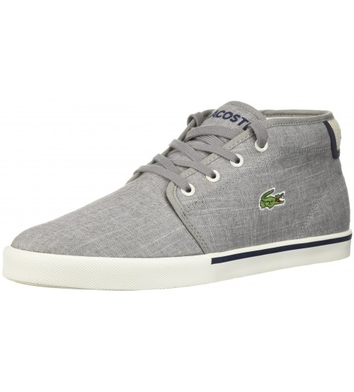 441b29cfac80a1 Lacoste Ampthill 218 Grey White Canvas Mens Trainers