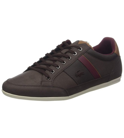 Lacoste Chaymon 318 Brown Red Leather Mens Trainers Shoes