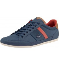 Lacoste Chaymon 318 Navy Brown Leather Mens Trainers Shoes