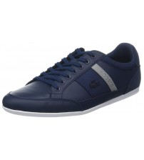 Lacoste Chaymon 318 Navy Grey Leather Mens Trainers Shoes