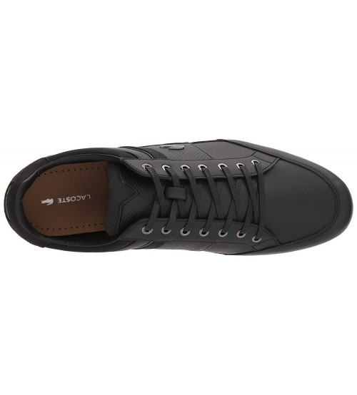 28e31e9f8 Lacoste Chaymon 118 Black Grey Leather Mens Trainers Shoes
