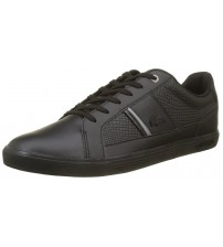 Lacoste Europa 417 Black Leather Mens Trainers Shoes