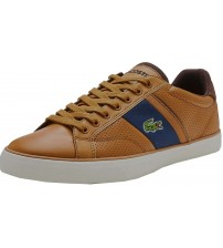 Lacoste Fairlead 118 Brown Navy Leather Mens Trainers Shoes