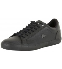 f6aee7bee753a1 Lacoste Lerond 317 4 Black Leather Mens Trainers Shoes
