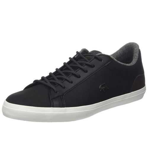 962c0ee67871e2 Lacoste Lerond 318 Black Brown Leather Mens Trainers Shoes