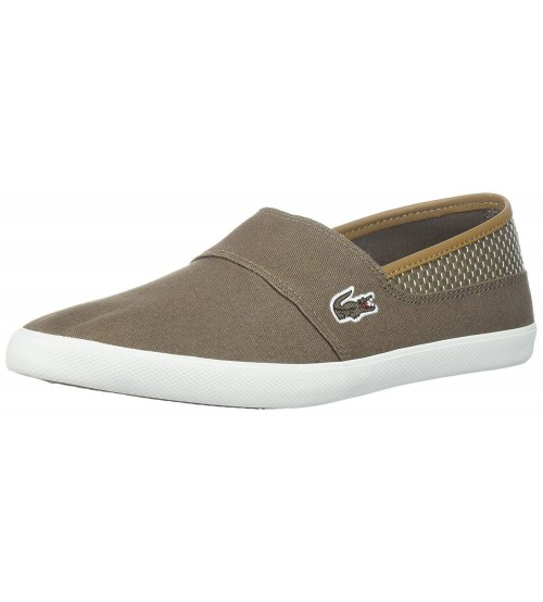 83f2d974876745 Lacoste Marice 118 Brown White Canvas Mens Slip-ons Shoes