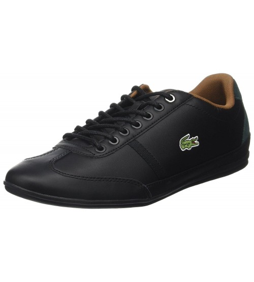 2e300b4a4f7070 Lacoste Misano Sport 317 Black Leather Mens Trainers Shoes