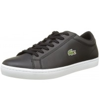 Lacoste Straightset Black White Leather Mens Trainers Shoes