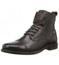 Levi's Emerson Brown Leather Mens Lace Up Mid Ankle Leather Army Boots
