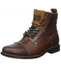 Levi's Emerson M Brown Mens Leather Mid Ankle Army Boots