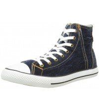 Levi's Original Red Tab Blue White Mens Hi Trainers Shoes