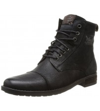 Levi's Maine Black Leather Mens Lace Up Mid Ankle Leather boots