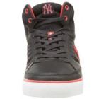 New York Yankees Vadim Black Red Mens Leather Mid Trainers
