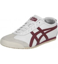 Onitsuka Tiger Mexico 66 White Burgundy Leather Men Trainers