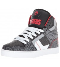 Osiris Clone Black Grey Red Mens Hi Top Skate Trainers